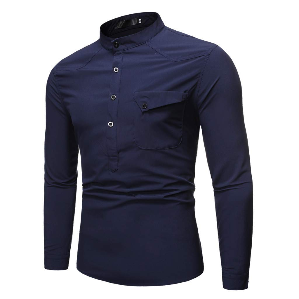 Halfbye Mens Autumn Shirt Slim Fit Long Sleeve Button Down Stand Collar Solid Tops Blouse