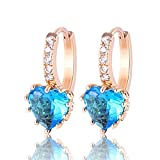 O&W Women Earing 18K Gold Plated Heart Aquamarine Zirconia Leverback Hoop Earrings Brincos Vintage E004f