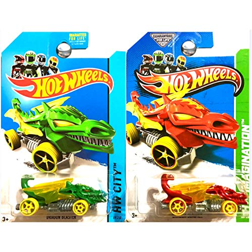 Hot Wheels Dragon Blaster Monster Cars in Red and Green Set of 2