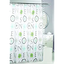 Moda at Home 204388 News Water Repellent Fabric Shower Curtain, 71-Inch X 71-Inch, Grey, Aqua, and Green