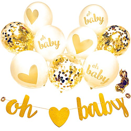 Baby Shower Decorations Neutral Decor Strung Banner (OH BABY) & 9PC Balloons w/Ribbon [Gold, Confetti, White] Kit Set | Hang on Wall | Glitter Unisex Pregnancy Announcement Gender Reveal -