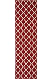 Ottomanson Ottohome Collection Contemporary Morrocan Trellis Design Non-Skid Rubber Backing Runner Rug, 1'10'' X 7'0'', Red