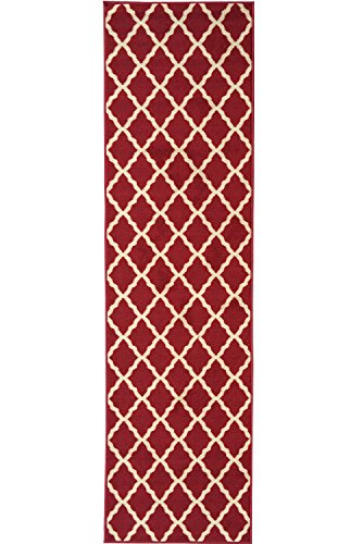 7'10 Inch Red Runner - Ottomanson Ottohome Collection Contemporary Morrocan Trellis Design Non-Skid Rubber Backing Runner Rug, 1'10