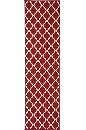 Ottomanson Ottohome Collection Contemporary Morrocan Trellis Design Non-Skid Rubber Backing Runner Rug, 1'10
