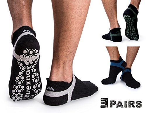 Muezna Non Slip Men's Yoga Socks, Anti-Skid Pilates, Barre, Bikram Fitness Hospital Socks with Grips (3 Pairs) by Muezna
