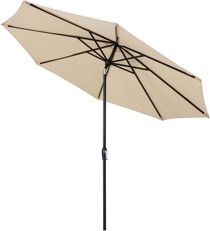 Tempera 10 Ft Patio Umbrella Outdoor Garden Table Umbrella with Auto-Tilt Function, 8 Steel Ribs, 200G Olefin, Beige