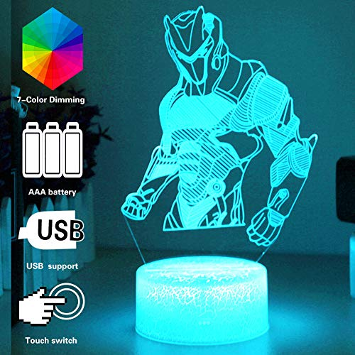 3D Lamp LED Illusion Night Lights RGB Color Changing with USB or Batteries Powered,Kids Desk Table Lamps forFortress Home Bedroom Decor Creative Gift Birthday Gifts for Kids - Omega Table Lamp