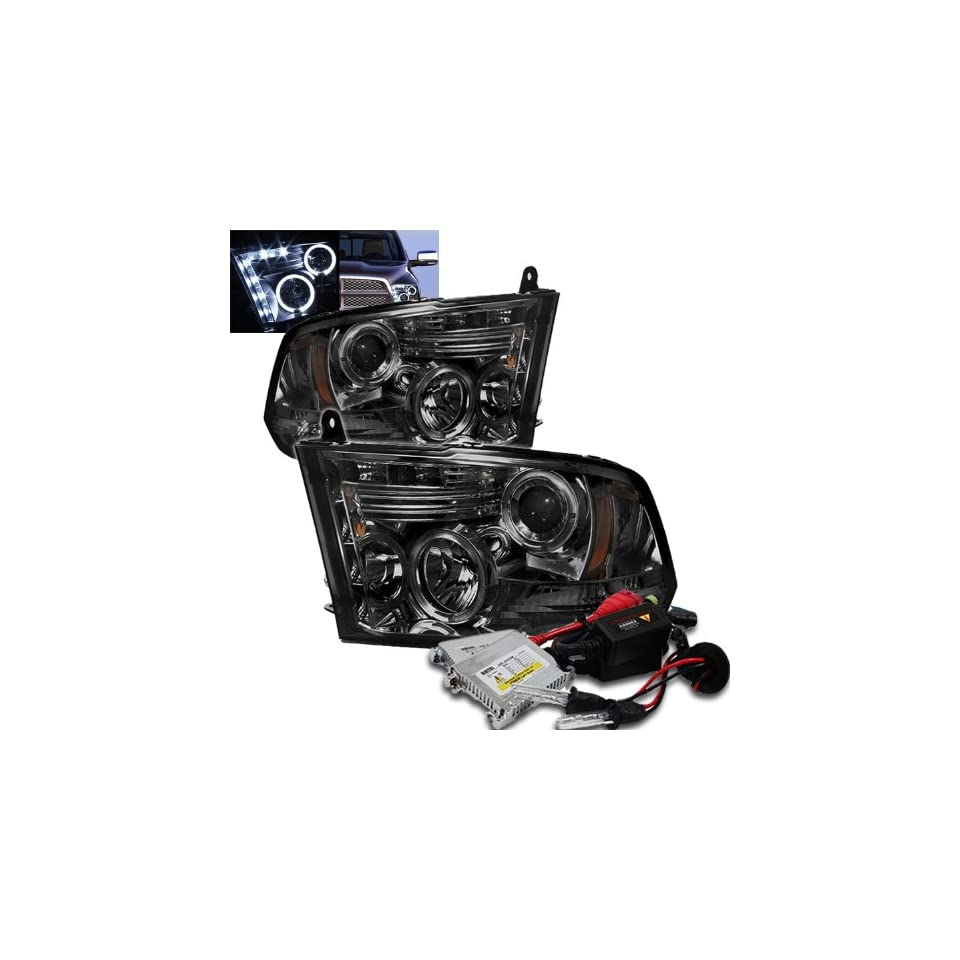 High Performance Xenon HID Dodge Ram 1500 / Dodge Ram 2500/3500/4000/4500/5500 ST SLT ( Not Fit Big Horn/Laramie/outdoorsman/Longhorn or Non Quad Headlights ) Halo LED ( Replaceable LEDs ) Projector Headlights with Premium Ballast   Smoke with 8000K Crysta