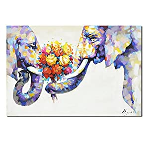 Pinetree Art Elephant Wall Art Canvas Print with Oil Paints Elephant Painting for Livingroom Decor