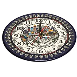 Jerusalem Ceramic Wall Clock - Large (10.5 inches or 27 cm)