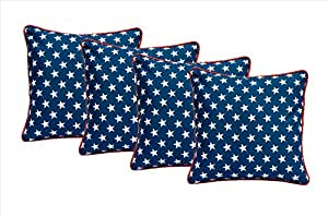 """Set of 4 - Indoor / Outdoor Square Decorative Throw / Toss Pillows - Navy with White Stars and Red Cording (20"""" x 20"""")"""