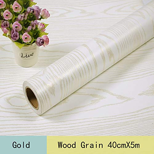 White Contact Paper Gold Wood Grain Self-Adhesive Waterproof 15.8