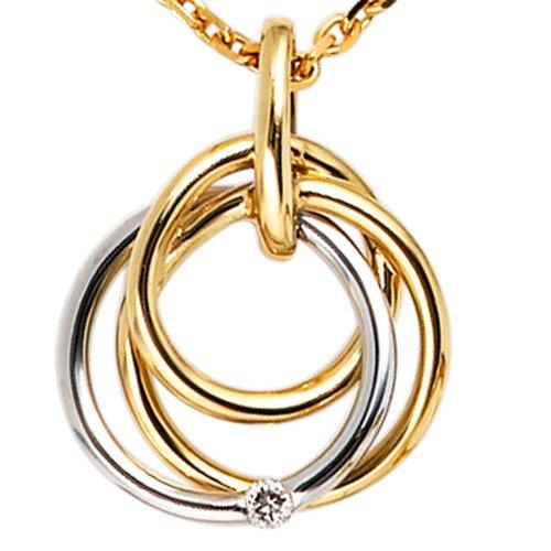 JOBO pendentif en or 585 jaune et blanc avec diamant taillé en brillant 0,02ct.
