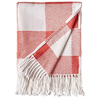 """Amazon Brand – Stone & Beam 100% Cotton Buffalo Check Throw Blanket, 50"""" x 60"""", Ivory and Red - A timeless buffalo check print makes this cozy cotton blanket blend with a variety of styles. With tassels at each end, it looks great draped over a bed or sofa -- or around you as you snuggle in to watch a Netflix movie. 50""""x 60"""" 100% Cotton - blankets-throws, bedroom-sheets-comforters, bedroom - 51ietlJ6aLL. SS400  -"""