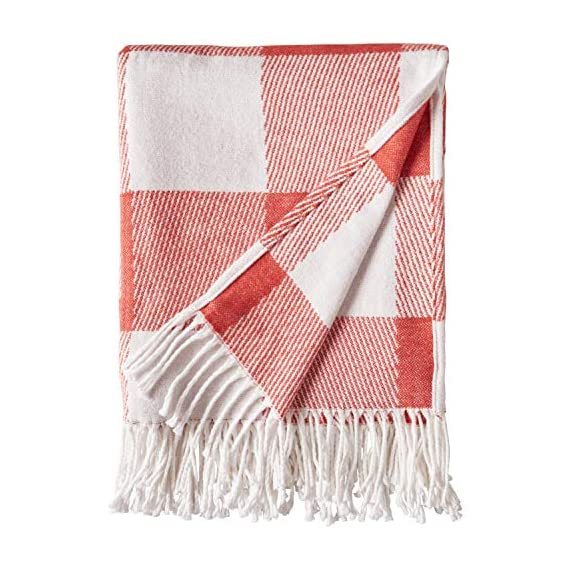 """Amazon Brand – Stone & Beam 100% Cotton Buffalo Check Throw Blanket, 50"""" x 60"""", Ivory and Red - A timeless buffalo check print makes this cozy cotton blanket blend with a variety of styles. With tassels at each end, it looks great draped over a bed or sofa -- or around you as you snuggle in to watch a Netflix movie. 50""""x 60"""" 100% Cotton - blankets-throws, bedroom-sheets-comforters, bedroom - 51ietlJ6aLL. SS570  -"""