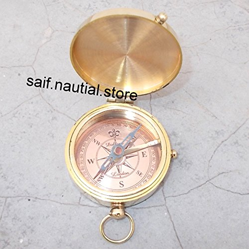 Thoreau 's Go Confidently詩Engraved Compass Vintage Maritime真鍮ハンドメイドポケットNauticalギフト B07BJHM25F