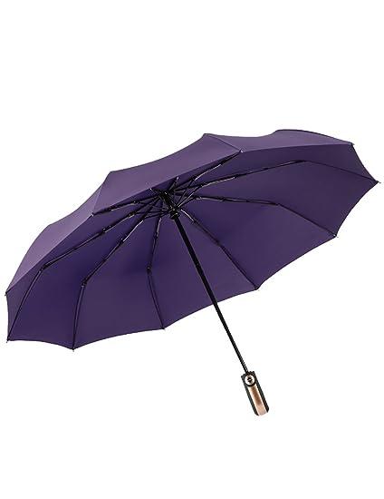 Umbrella Paraguas Plegable automático Paraguas Compacto - Coche Abierto Cerrado Paraguas Plegable lluvioso y Soleado Uso