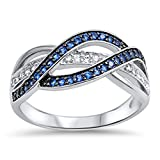 Weave Knot Blue Simulated Sapphire Fashion Ring New 925 Sterling Silver Band Size 12 (RNG15297-12)