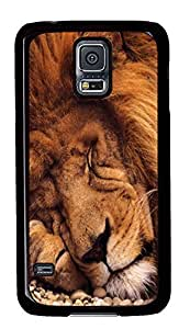 Samsung S5 case funny Sleeping Lion Animal PC Black Custom Samsung Galaxy S5 Case Cover