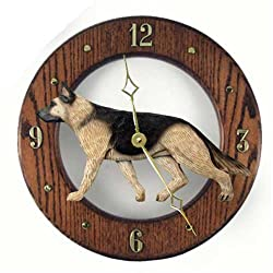 TAN WITH BLACK SADDLE German Shepherd Dog Wall Clock in Dark Oak by Michael Park