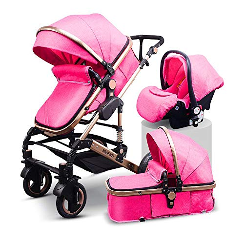 Buy Bargain Newborn Luxury Anti-Shock Baby Stroller 3 in 1 Pink,Babyfond Convertible Bassinet to Tod...
