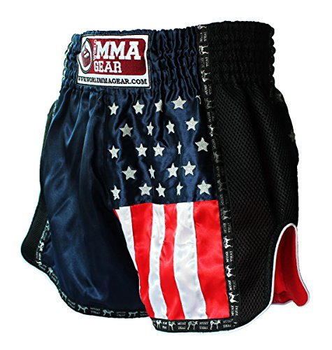 No Fear Fight Shorts (Black Muay Thai Shorts by World MMA Gear Handmade Retro design Thai Boxing Shorts for Men with US Flag Decoration (XX-Large))