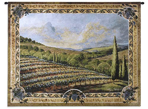 Napa Valley II | Woven Tapestry Wall Art Hanging | Rolling Vineyard Hills on Countryside | 100% Cotton USA Size 53x40