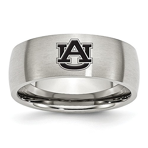 (Jewel Tie Size 8.5 - Stainless Steel Auburn University Laser Etch Ring (8mm))