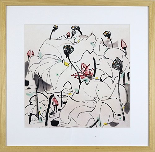 IglooArts- Giclee Print of Contemporary Asian Paintings - Lotus Scene - Wu Guanzhong - Price Cut by 30% for Holidays - Framed and Ready to Hang - 21