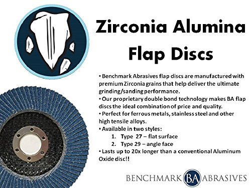 4.5'' x 7/8'' Premium Zirconia Flap Discs Grinding Wheels 80 Grit Type 27-10 Pack by Benchmark Abrasives (Image #5)