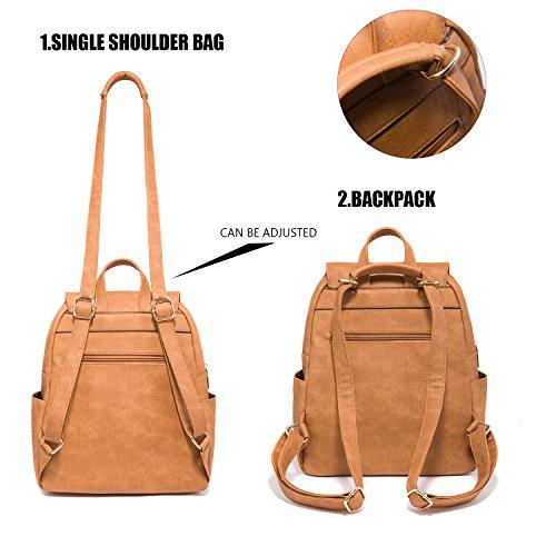 Fashion Shoulder Bag Rucksack PU Leather Women Girls Ladies Backpack Travel bag (Brown) by PlasMaller (Image #3)