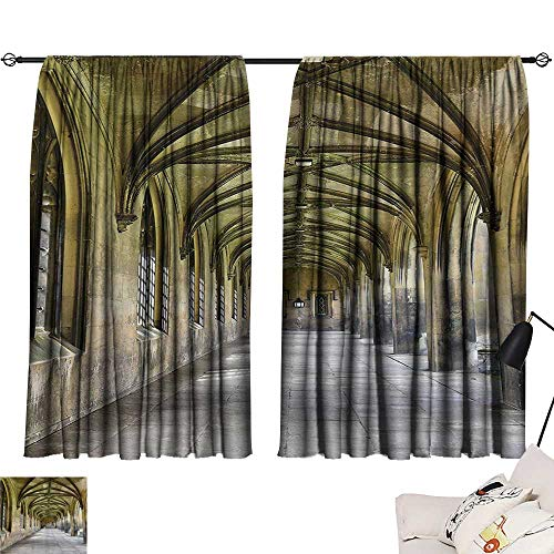 Anzhutwelve Blackout Curtains Apartment Decor Collection,Paved Stone Walkway with Gothic Arches Receding Into Distance Arched Windows Portals,Charcoal W55 x L72 Window Drapes for -