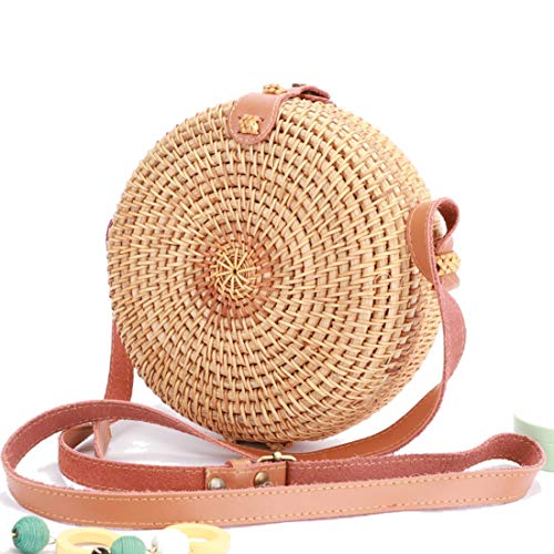 - Weive Hand Woven Straw Bag For Women - Natural Boho Rattan Bags - Eco Friendly Round Basket Purse With Adjustable Leather Shoulder Strap - Crossbody Handwoven Wicker Summer Women's Circle Handbag