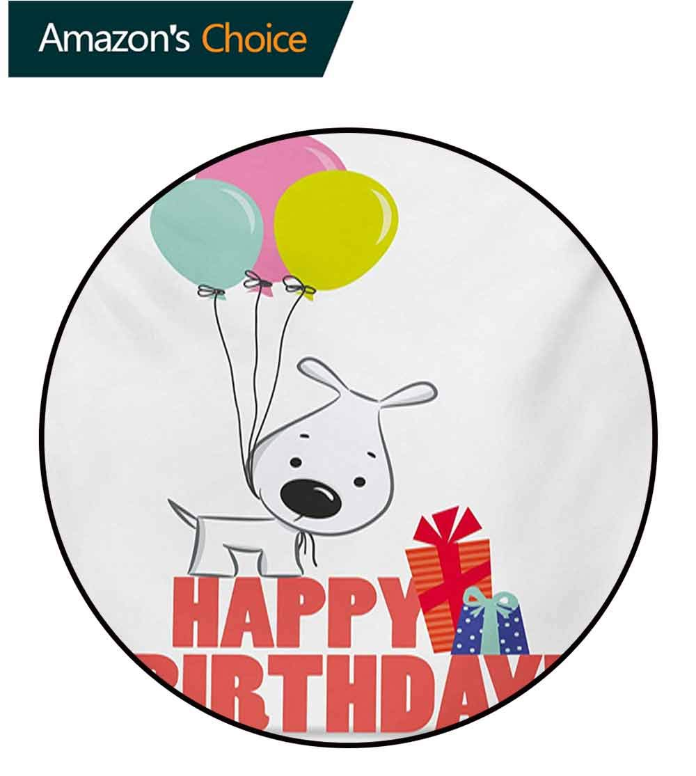 RUGSMAT Kids Birthday Modern Machine Washable Round Bath Mat,Cartoon Sketchy Dog Image with Colorful Balloons and Boxes Animal Fun Print Non-Slip Soft Floor Mat Home Decor,Round-31 Inch