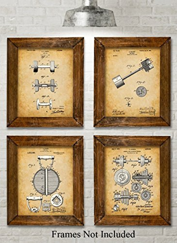 Original Workout Equipment Patent Art Prints - Set of Four Photos (8x10) Unframed - Great for Home Gyms