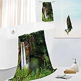 Miki Da bath sheet towel set Twin Wailuas Kauai Hawai Greenery Grass Scenic View Green Multipurpose Quick Drying 19.7''x19.7''-13.8''x27.6''-31.5''x63''