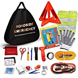 Sailnovo Car Emergency Kit, Multifunctional Roadside Assistance Auto Safty Kit ,First Aid Kit, Jumper Cables, Tow Rope, Triangle, Flashlight, Safety Hammer and More Ideal Survival Pack Accessories