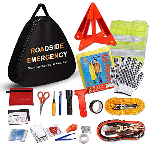 - Sailnovo Car Emergency Kit, Multifunctional Roadside Assistance Auto Safty Kit ,First Aid Kit, Jumper Cables, Tow Rope, Triangle, Flashlight, Safety Hammer and More Ideal Survival Pack Accessories