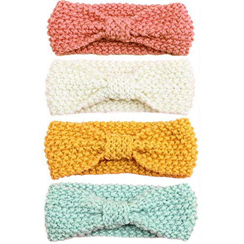 Urbun Baby Girls Headbands Wool Knitting Fabrics Turban Hairbands for Kids (4 Pack)