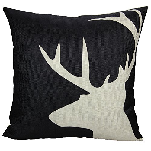 (All Smiles Black White Deer Throw Pillow Case Cushion Cover Nordic Reindeer Buck Antler 18x18)