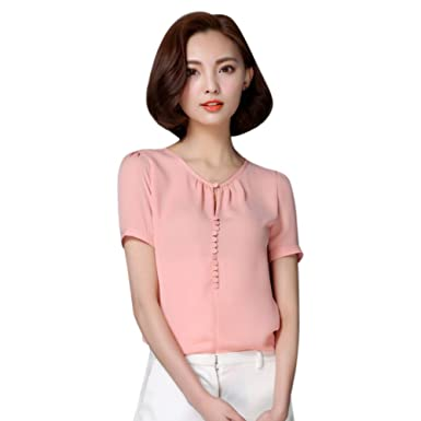 a352b692a37 EFINNY Women Chiffon Blouse T-Shirt Office OL Short Sleeve Loose Tops  Workwear