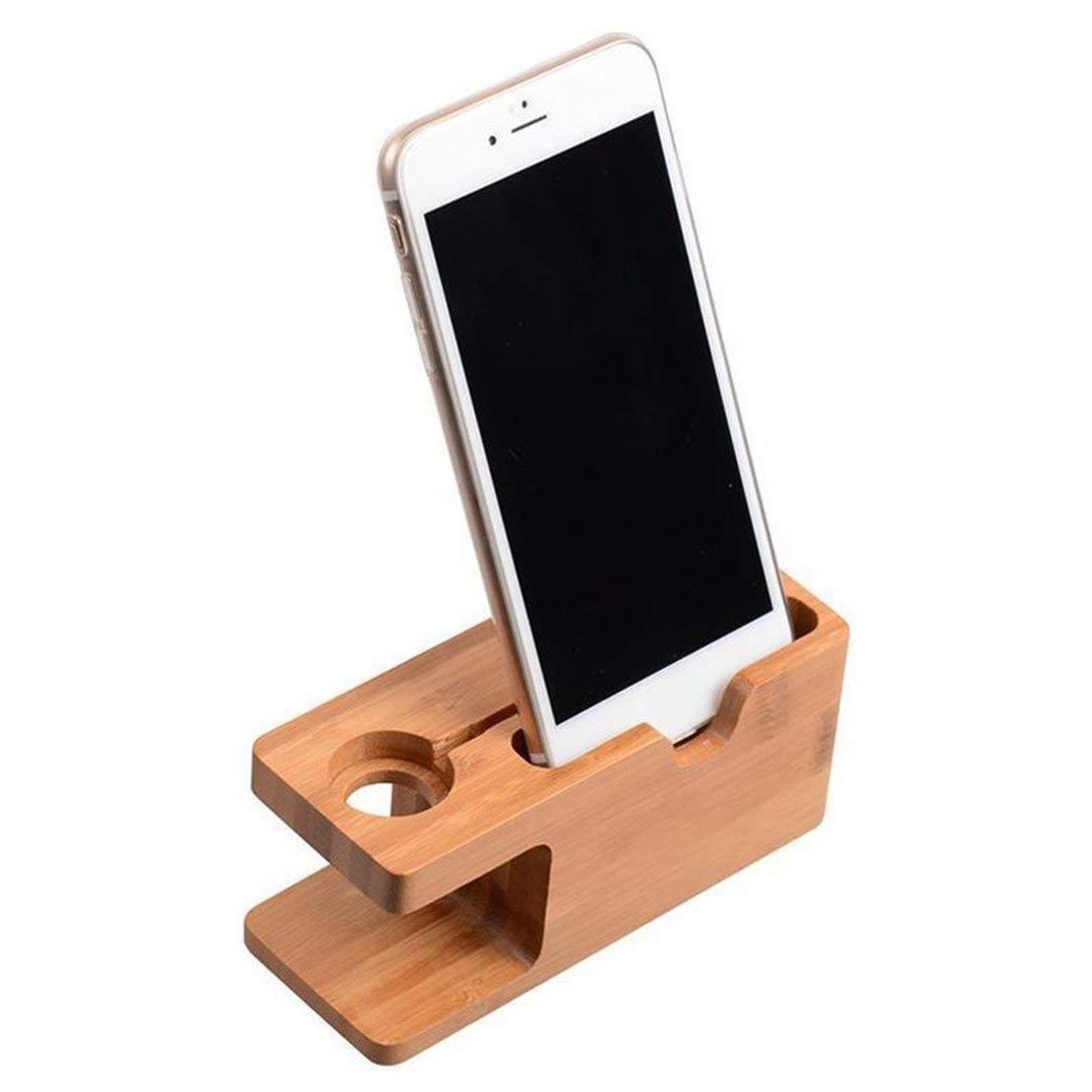 Multifunktionale 2-in-1 Ladestation Stand Station Uhr Telefon Ladeger/ät Holz Halter Space Saver f/ür iWatch f/ür iPhone