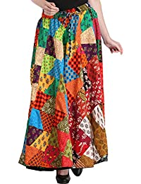 Exotic India Casual Long Ghagra Skirt with Printed Patc