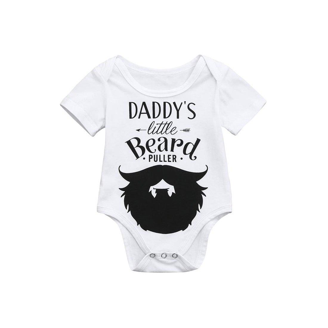 Molyveva Infant Baby Girl Boy Romper Short Sleeve Jumpsuit Funny Dad Beard Gift Old Tree Store
