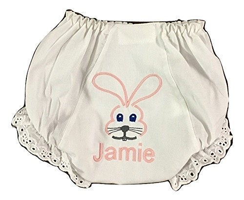 Easter Bunny Personalized Eyelet Panties (0-6 (Personalized Diaper Cover)