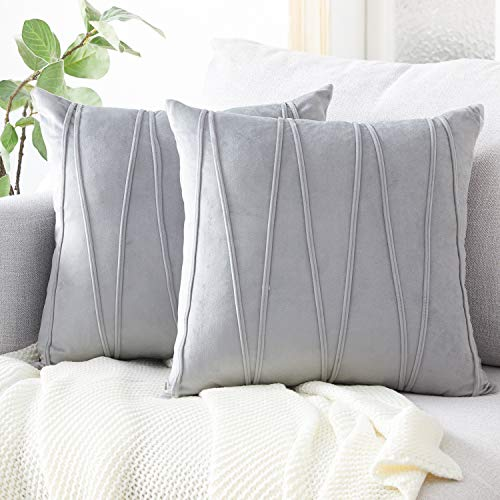 (Top Finel Decorative Hand-Made Throw Pillow Covers Soft Particles Velvet Solid Cushion Covers 16 X 16 for Couch Bedroom Car, Pack of 2, Grey)