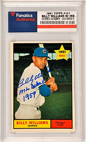 Billy Williams Chicago Cubs Autographed 1961 Topps #141 Rookie Card with MLB Debut 8/6/59 Inscription (Williams Rookie Card)