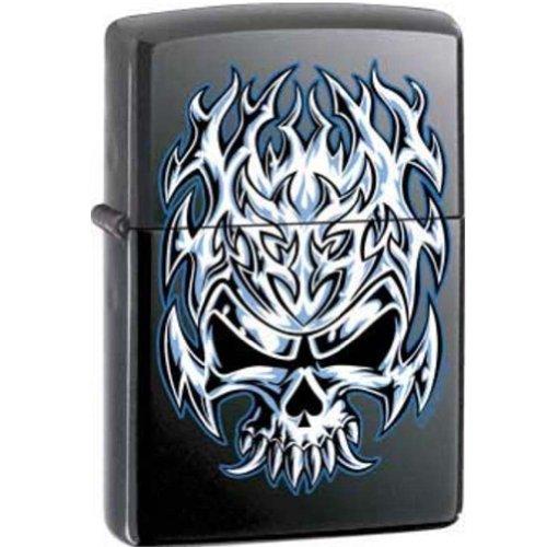Zippo Lighter - Flaming Chrome Skull Licorice