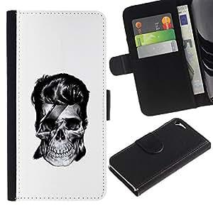 Agenda RenCase/Cartera Funda de piel sintética con tarjetero para Apple iphone 5/5S - Rock calavera