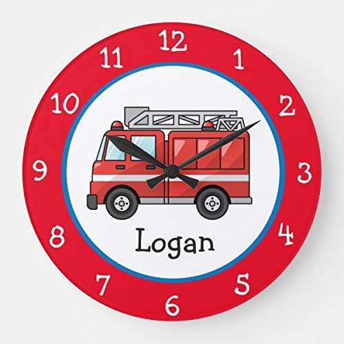 "DoreenAbe Classic Wood Clock, Non Ticking Clock 12"" Blue and Red Fire Truck Wall Wooden Decorative Round Wall Clock"